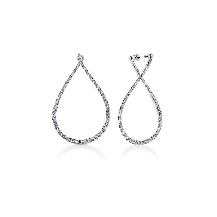 14k White Gold 45mm Intricate Pear Shaped Diamond Hoop Earrings