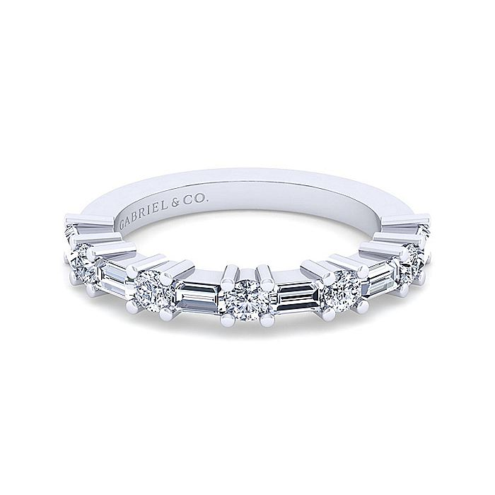 14k White Gold Baguette and Round 11 Stone Diamond Anniversary Band
