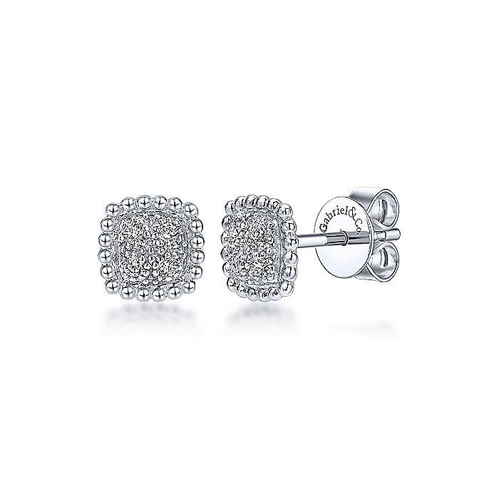 14k White Gold Beaded Cushion Shaped Diamond Cluster Stud Earrings