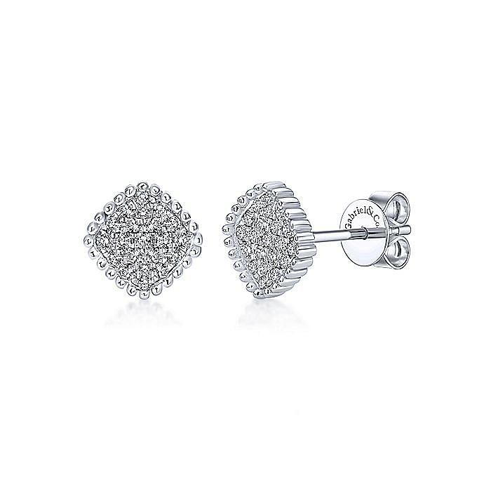 14k White Gold Beaded Square Diamond Cluster Stud Earrings