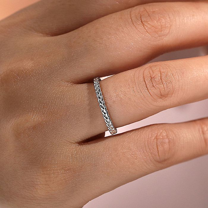14k White Gold Braided Eternity Stackable Ring