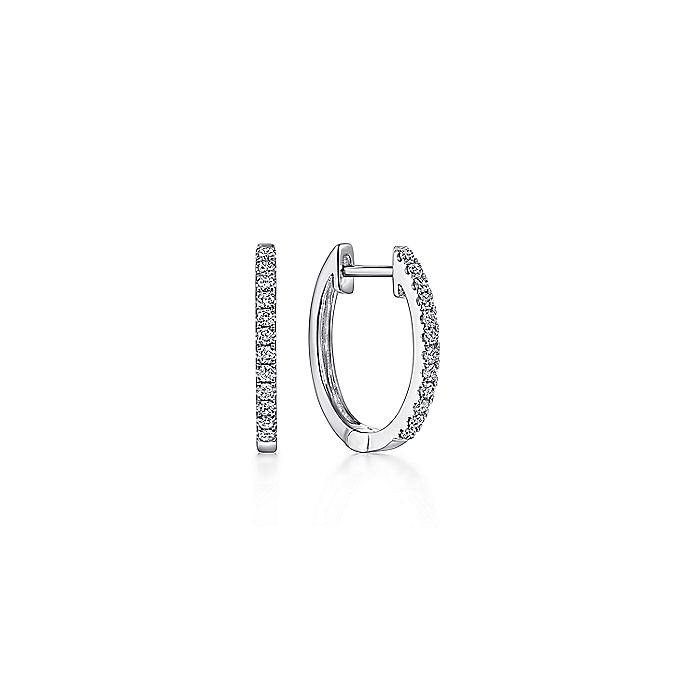 14k White Gold Classic 10mm Pave Diamond Huggie Earrings