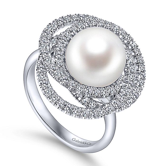 14k White Gold Classic Cultured Pearl Layered Diamond Halo Ladies Ring