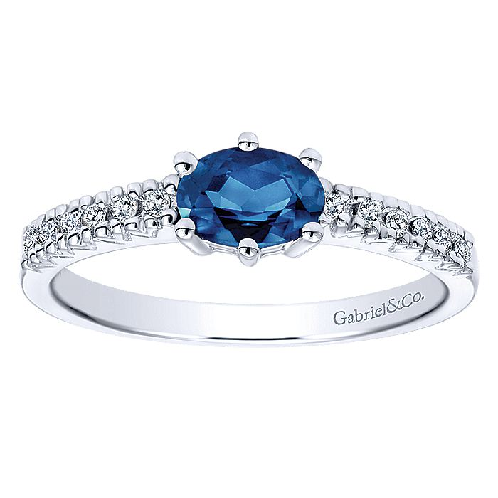 14k White Gold Classic Oval Sapphire & Diamond Ladies Ring