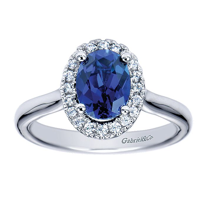 14k White Gold Classic Oval Sapphire Diamond Halo Ladies Ring