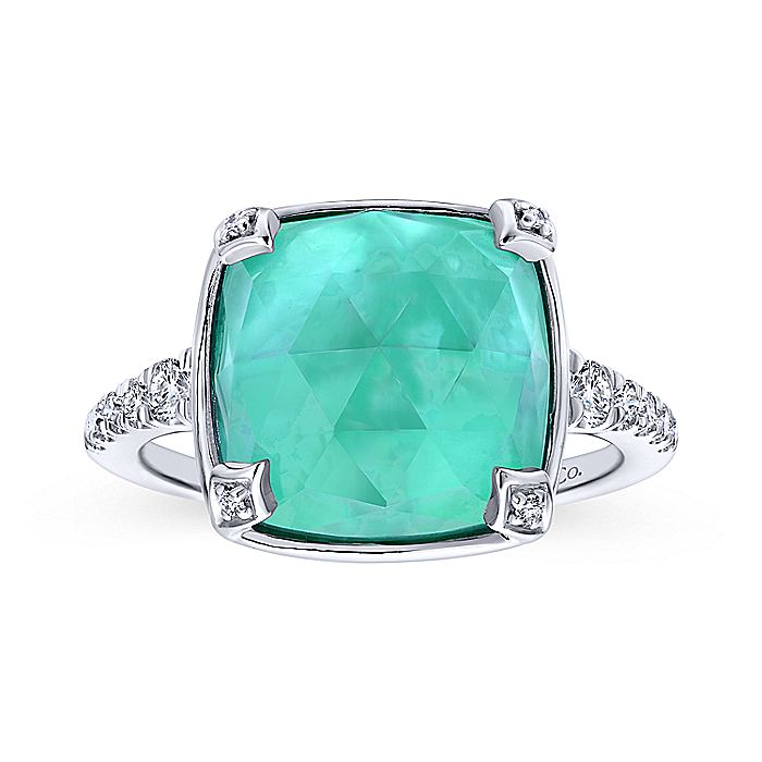 14k White Gold Classic Rock Crystal, White Mother of Pearl & Green Onyx Ladies Ring