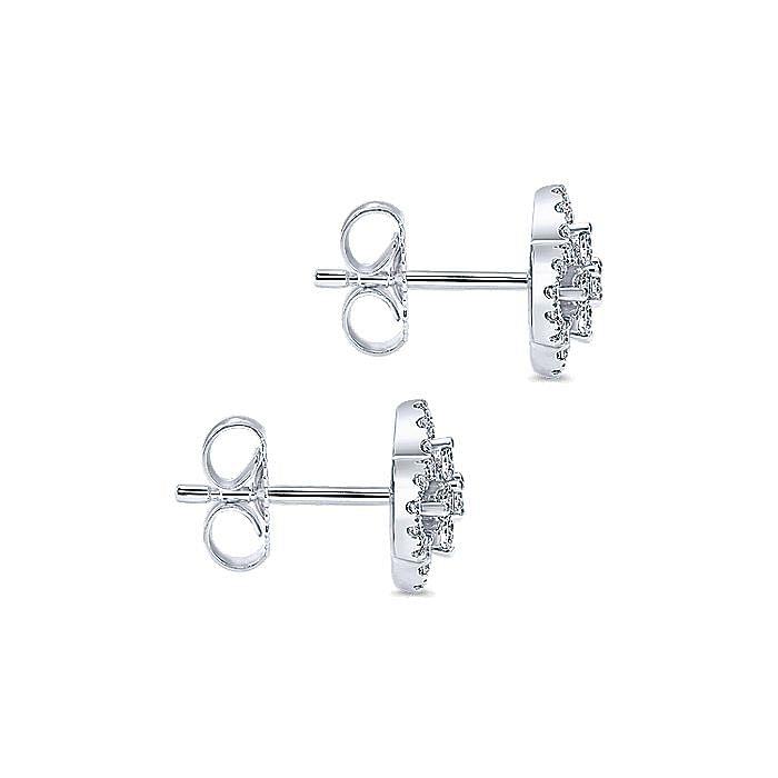 14k White Gold Clover Cutout Diamond Stud Earrings