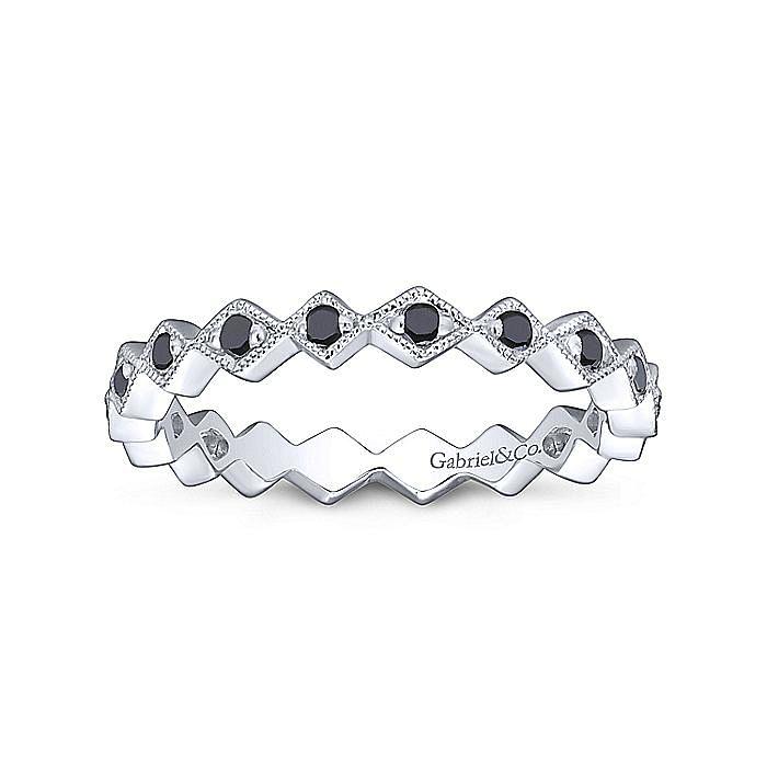 14k White Gold Contoured Black Diamond Zig Zag Stackable Ring
