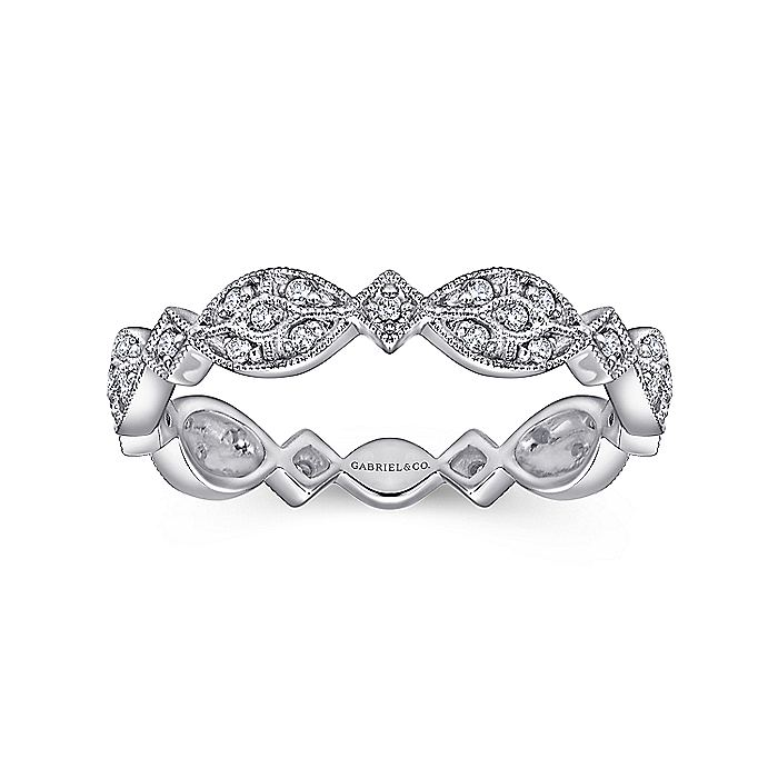 14k White Gold Contoured Diamond Stackable Ring