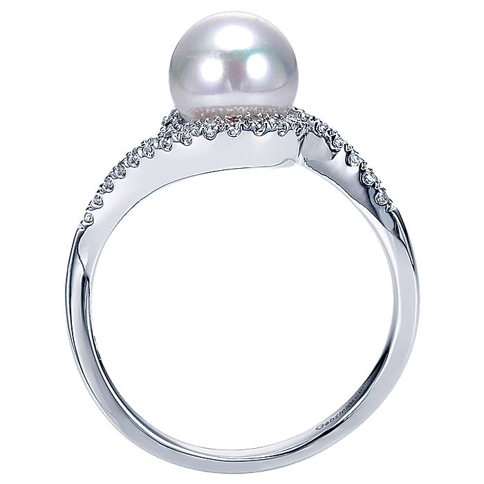 14k White Gold Cultured Pearl Diamond Bypass Ring