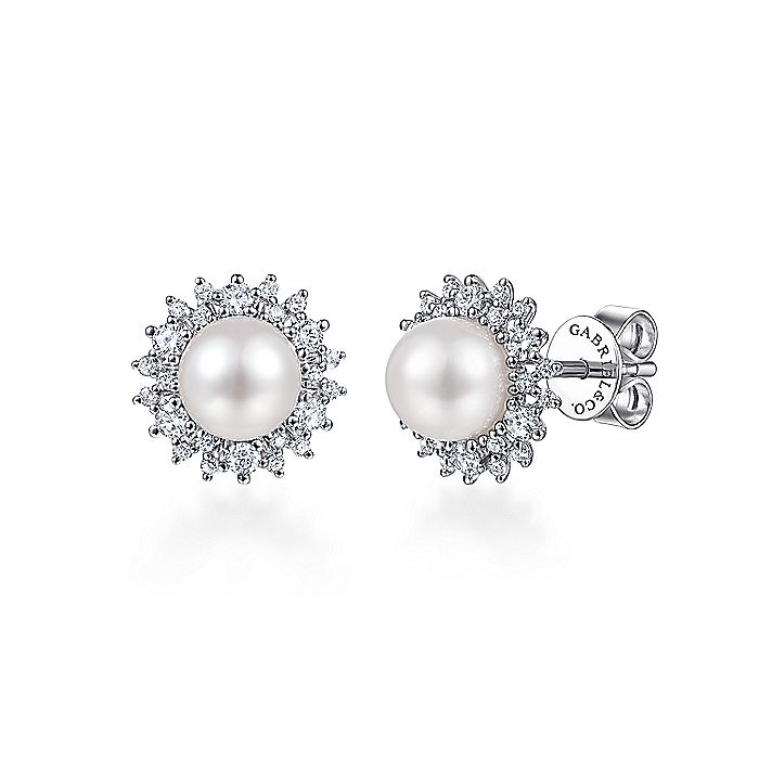14k White Gold Cultured Pearl Scalloped Diamond Halo Stud Earrings