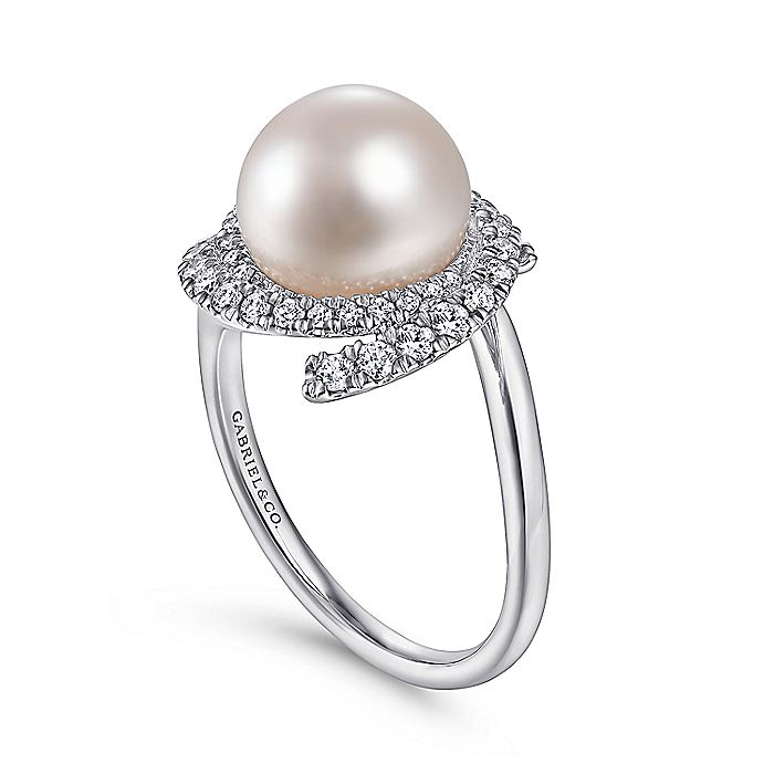 14k White Gold Cultured Pearl Swirling Diamond Halo Ladies Ring