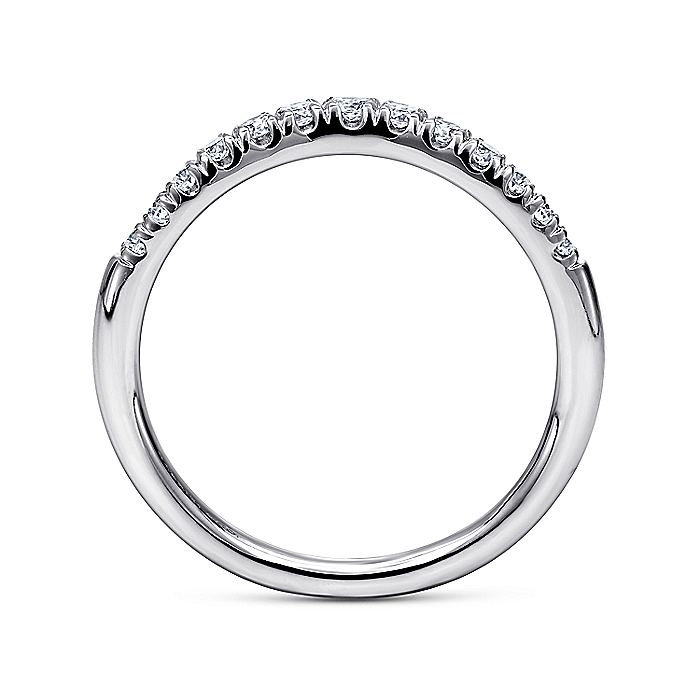 14k White Gold Curved French pave Set Band