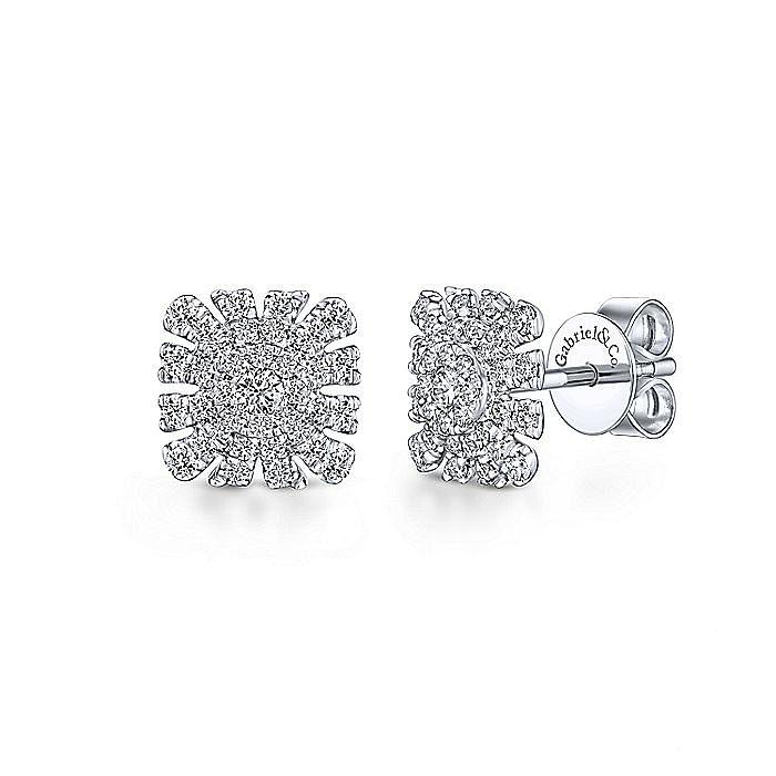 14k White Gold Cushion Cut Starburst Diamond Stud Earrings
