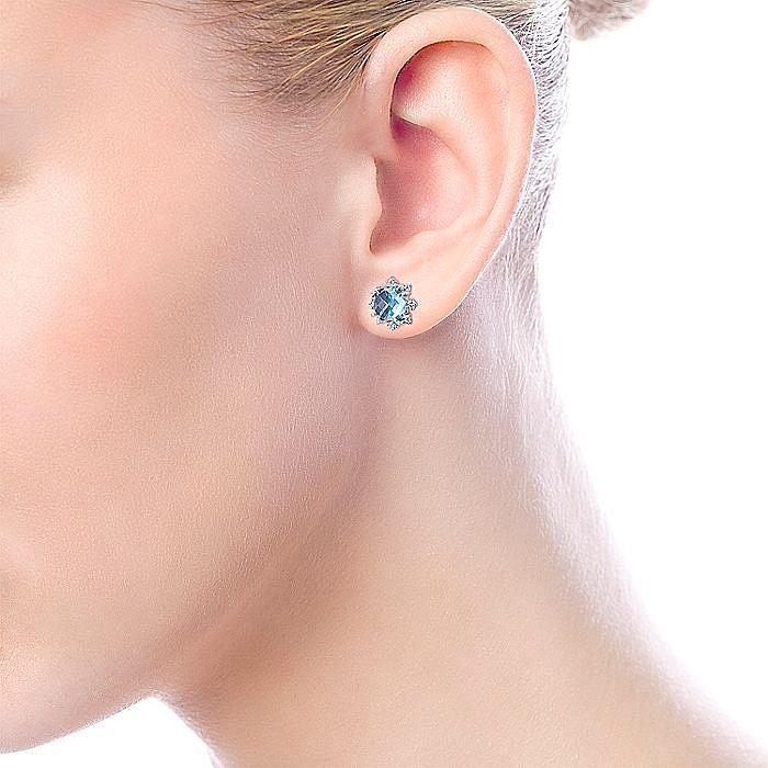 14k White Gold Cushion Cut Swiss Blue Topaz Stud Earrings