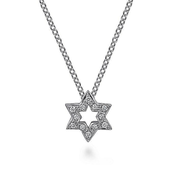 14k White Gold Cutout Pave Diamond Star of David Necklace
