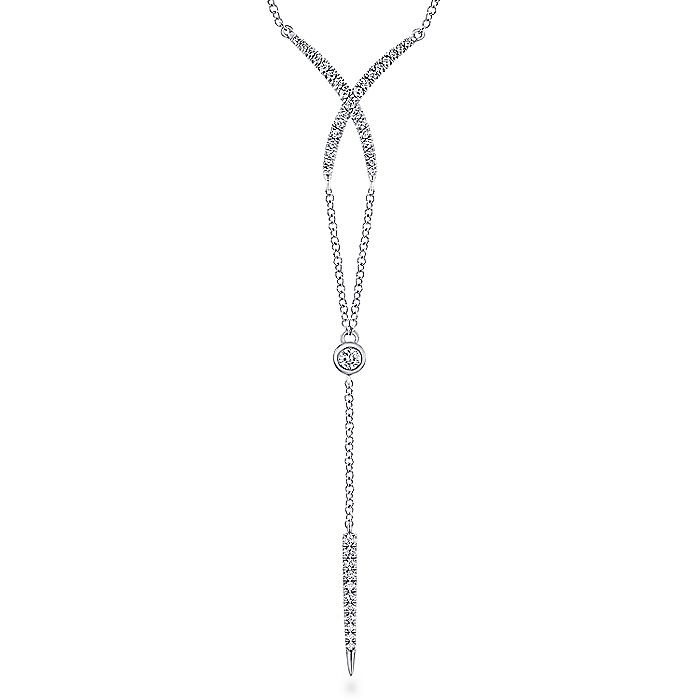14k White Gold Diamond Crossover Y Knot Necklace
