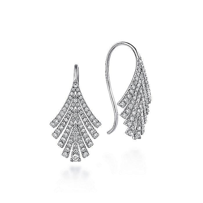 14k White Gold Diamond Fan Drop Earrings