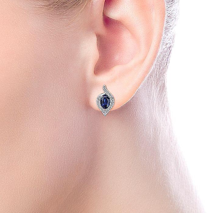 14k White Gold Diamond Halo Oval Cut Sapphire Stud Earrings