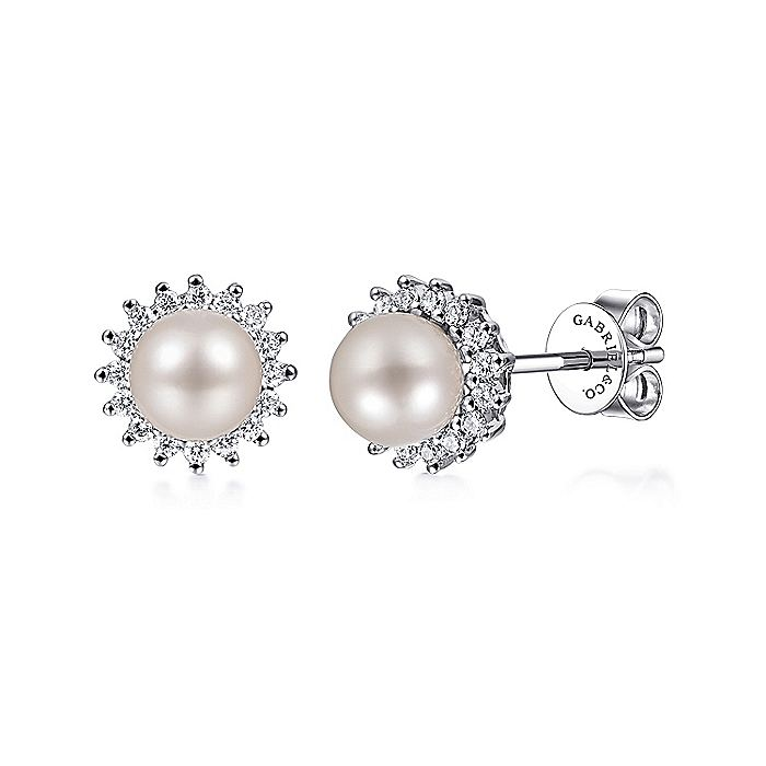 14k White Gold Diamond Halo Pearl Stud Earrings