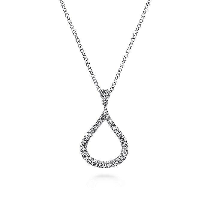 14k White Gold Diamond Pave Droplet Fashion Necklace