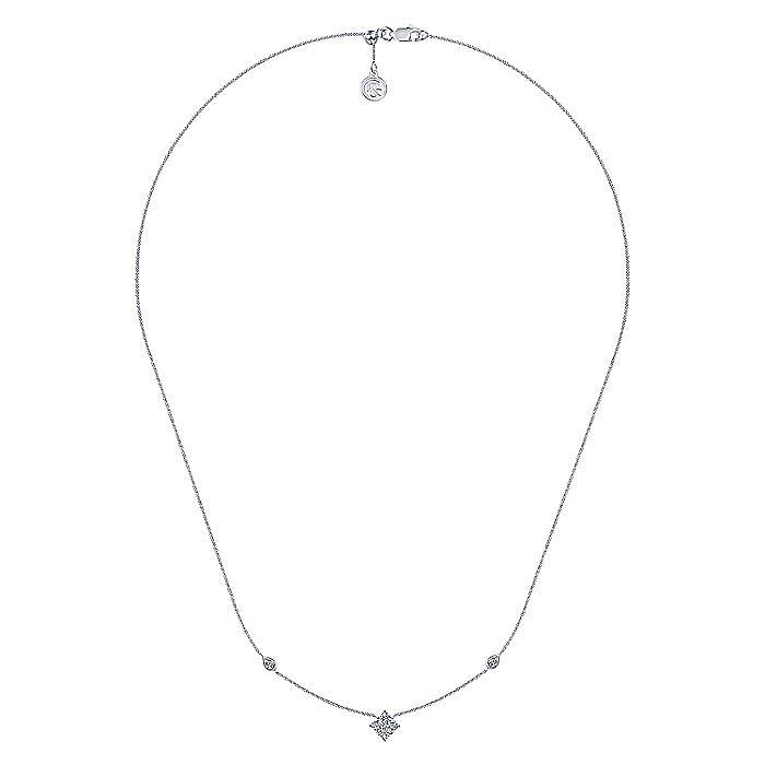 14k White Gold Diamond Trio Choker Necklace