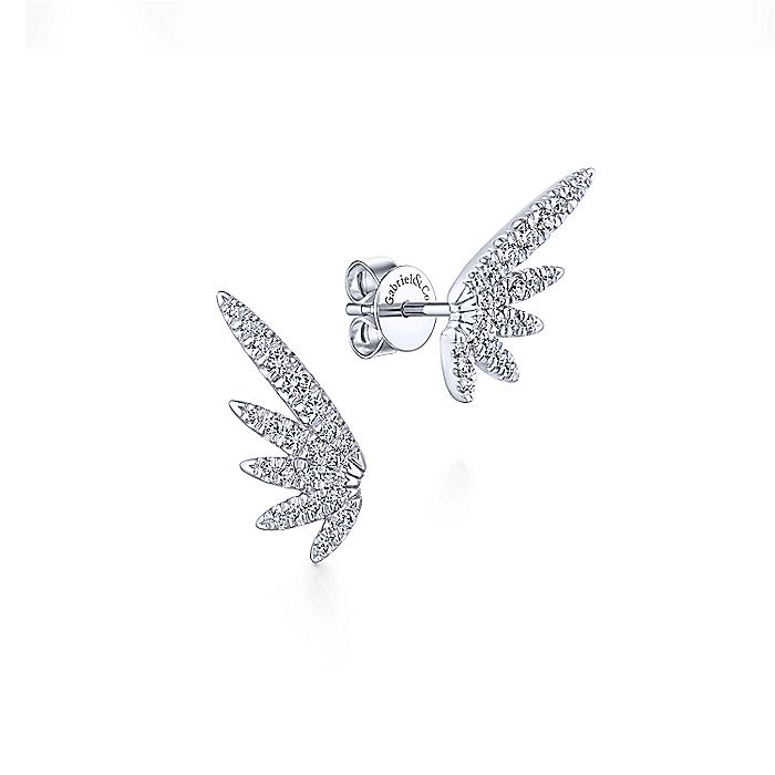 14k White Gold Diamond Wing Stud Earrings