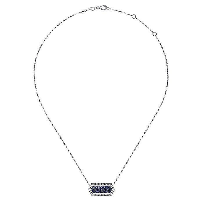 14k White Gold Elongated Hexagonal Diamond & Sapphire Fashion Necklace
