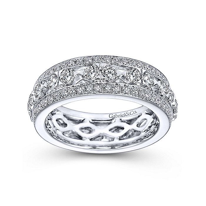 14k White Gold Fancy Diamond Eternity Band