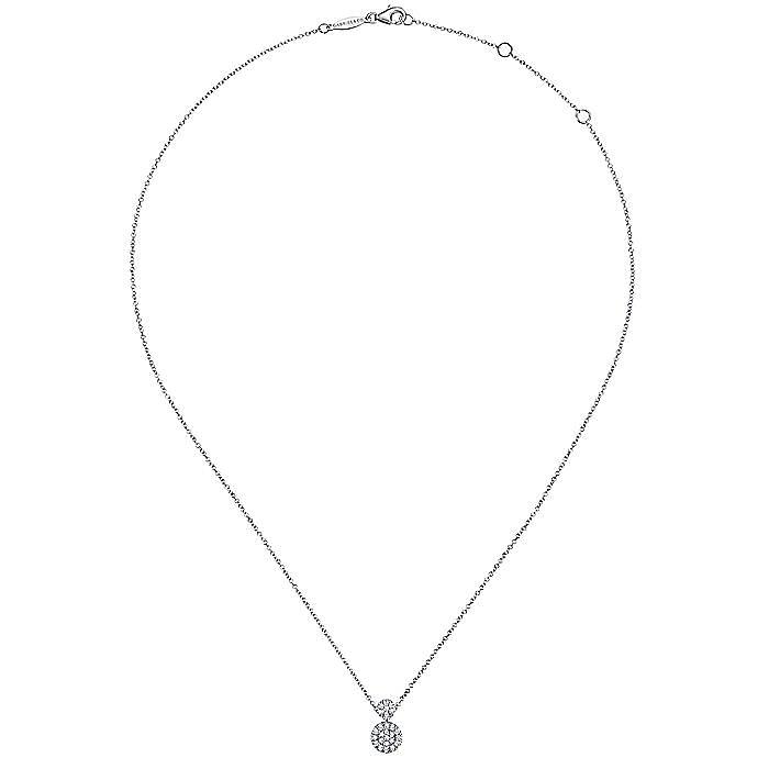 14k White Gold Fashion Necklace Double Diamond Disc Necklace