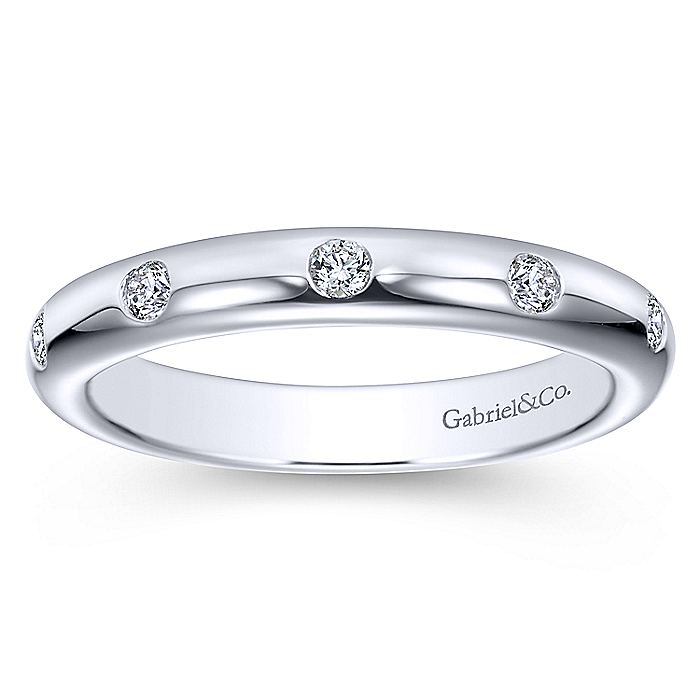14k White Gold Flush Set Diamond Eternity Band
