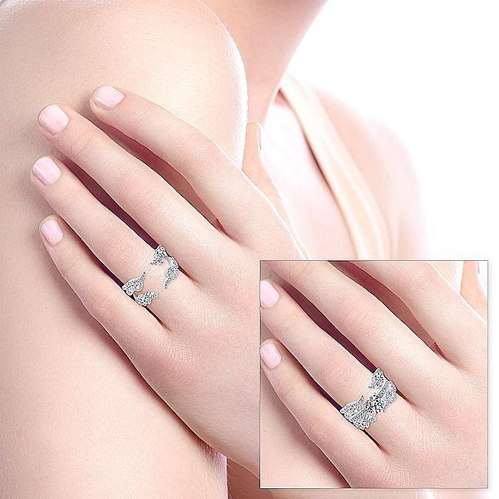 14k White Gold French pave Set Diamond Enhancer