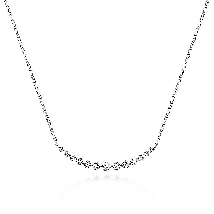 14k White Gold Graduated Round Diamond Curved Bar Necklace
