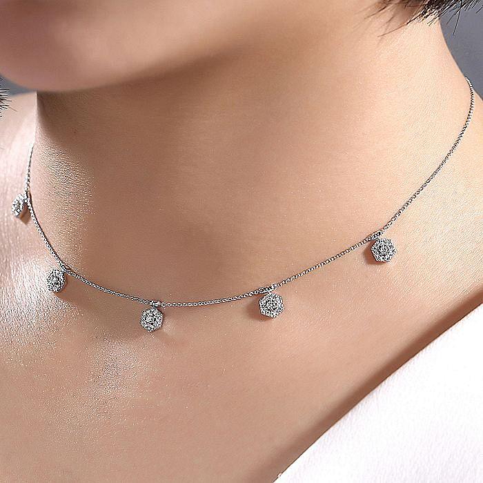 14k White Gold Hexagonal Diamond Choker Necklace