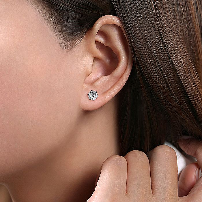 14k White Gold Hexagonal Diamond Halo Stud Earrings