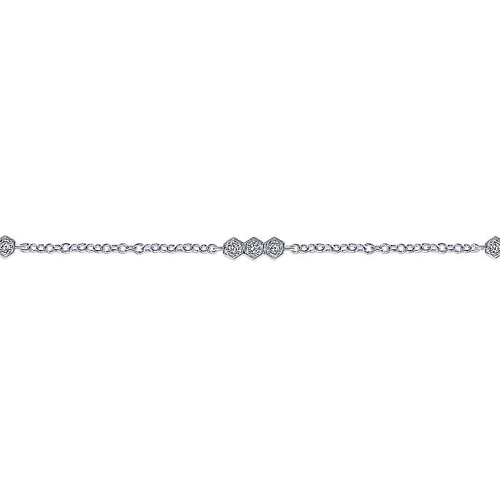 14k White Gold Hexagonal Diamond Stations Tennis Bracelet