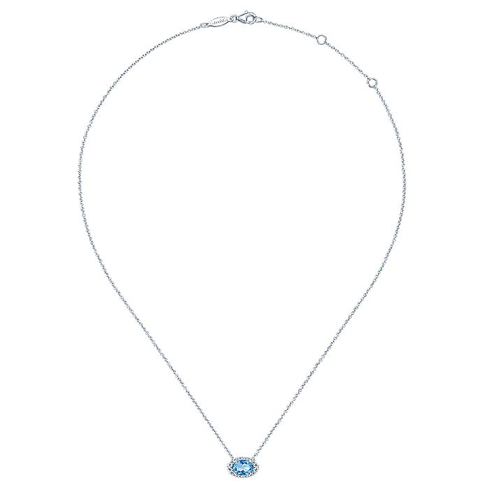 14k White Gold Horizontal Oval Swiss Blue Topaz Diamond Halo Fashion Necklace