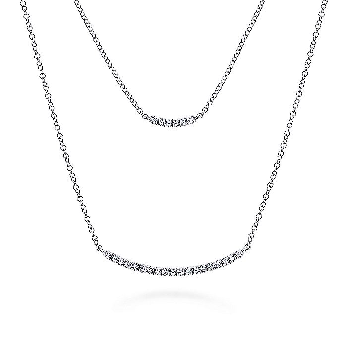 14k White Gold Layered Double Diamond Bar Necklace
