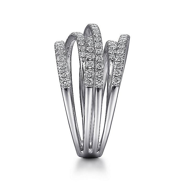 14k White Gold Layered Wide Band Diamond Ring