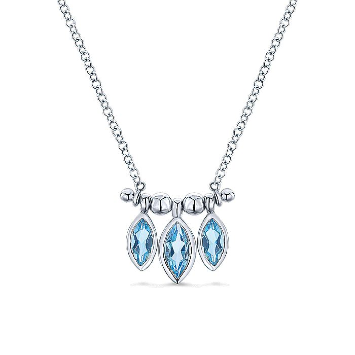 14k White Gold Marquise Cut Swiss Blue Topaz Curved Bar Necklace