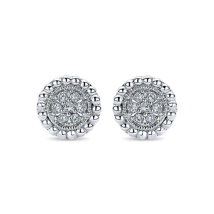 14k White Gold Milgrain Beaded Round Diamond Cluster Stud Earrings