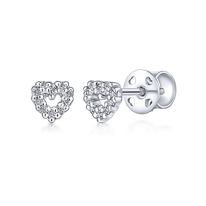 14k White Gold Open Heart Diamond Stud Earrings