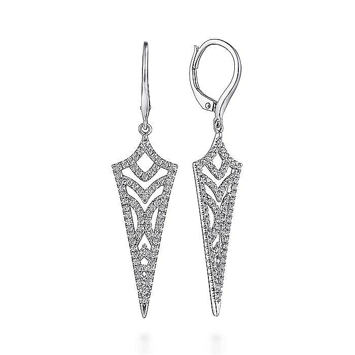 14k White Gold Openwork Diamond Drop Earrings