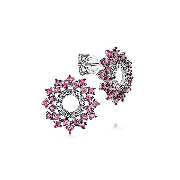 14k White Gold Openwork Diamond and Ruby Stud Earrings