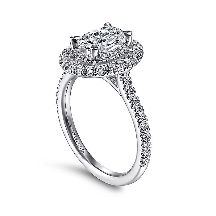 14k White Gold Oval Double Halo Diamond Engagement Ring