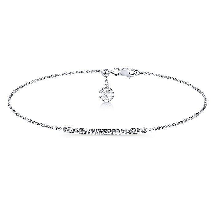14k White Gold Pavé Diamond Bar Chain Bracelet
