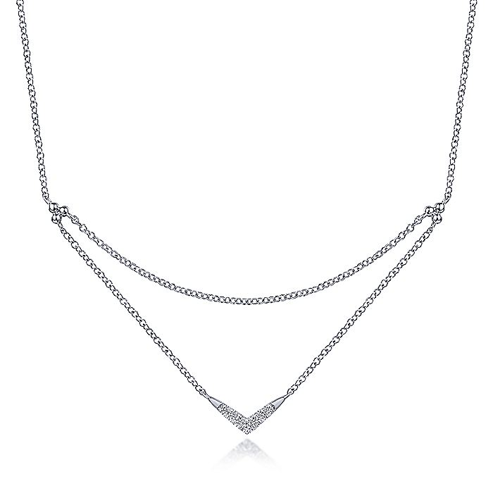 14k White Gold Pave Diamond Layered Chain Fashion Necklace