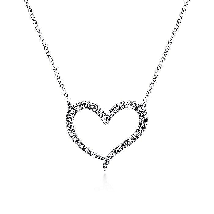14k White Gold Pave Diamond Open Heart Shaped Necklace
