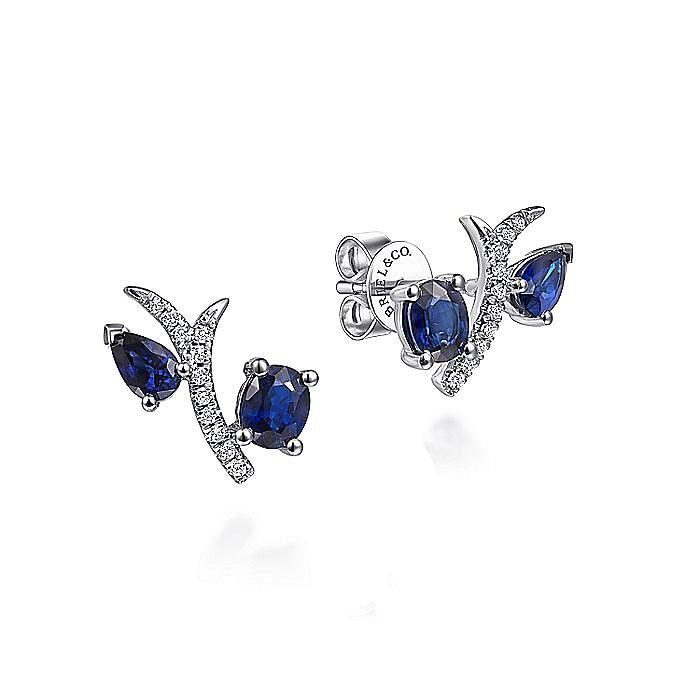 14k White Gold Pave Diamond Oval & Pear Cut Sapphire Stud Earrings
