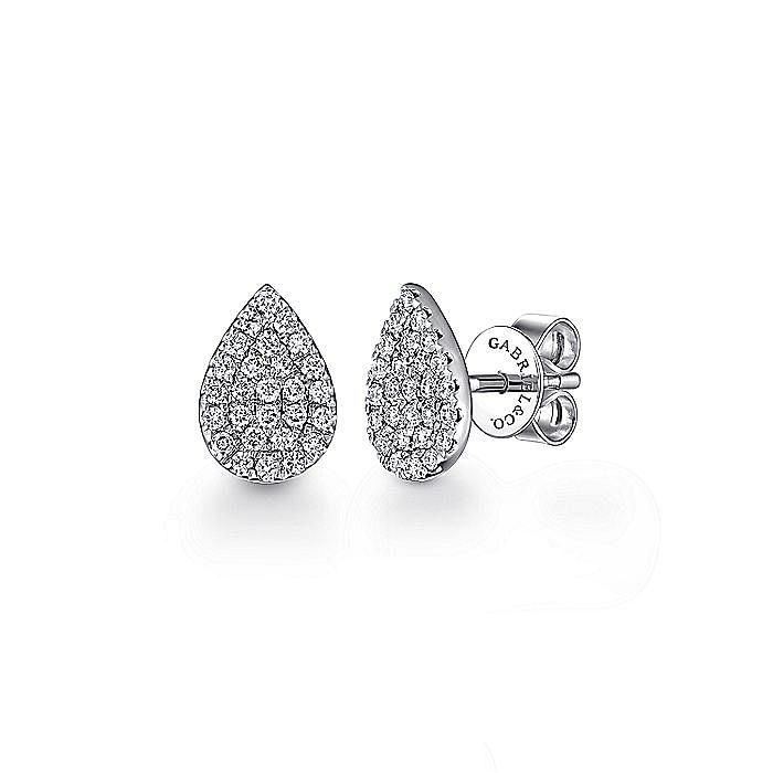 14k White Gold Pear Shaped Pave Diamond Stud Earrings